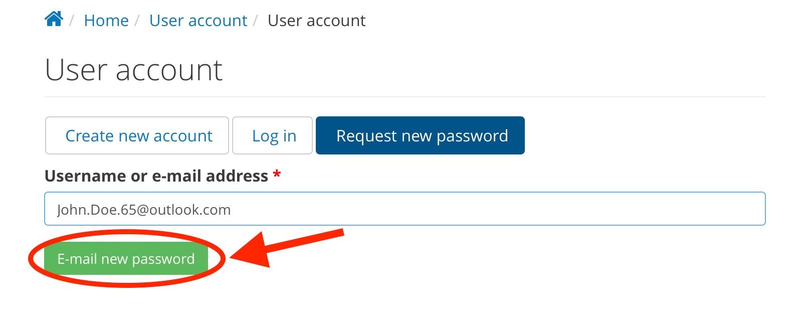 Enter username or e-mail address