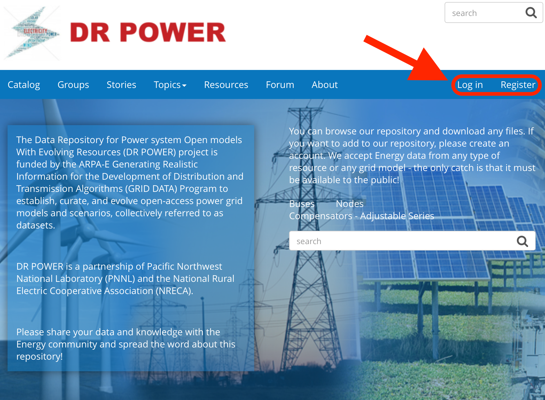 Screen capture of DR POWER home page with Log in and Register links circled in red and highlighted by a red arrow.