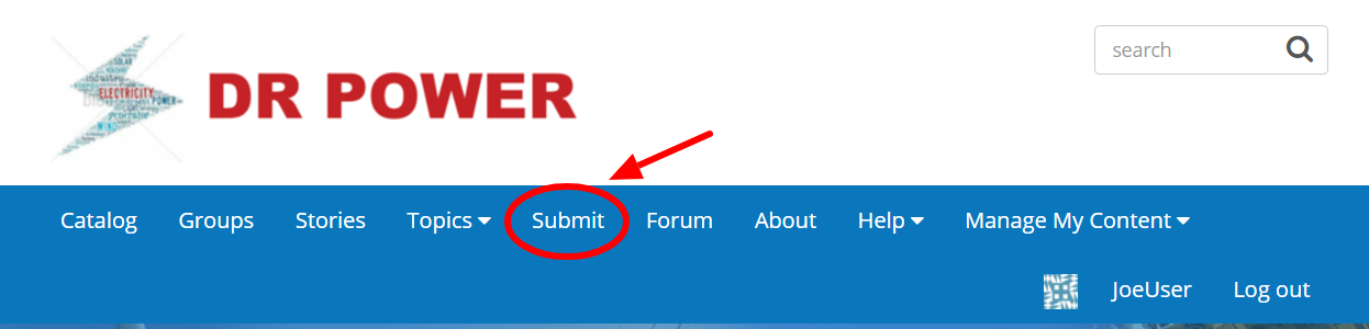 DR POWER navigation with the Submit link circled in red.