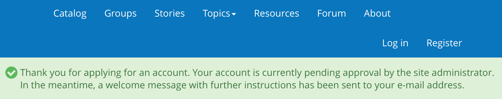 Account creation confirmation message